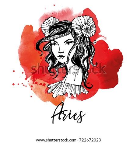 Aries Zodiac Signs Girl Stock Vektorgrafik Lizenzfrei 722672023