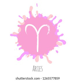 Aries zodiac symbol vector, hand painted horoscope sign. Astrological icon isolated. Aries astrology zodiac sign pink clip art on white background.