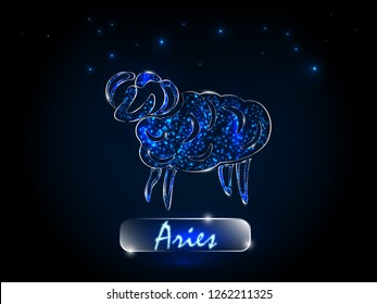 Aries.Zodiac symbol on a background of the starry sky. Signs of the zodiac, astrology.