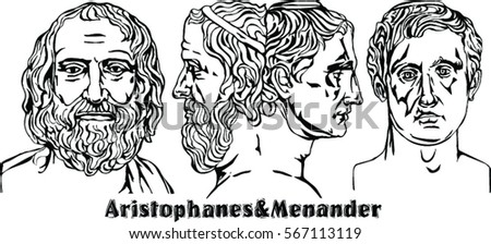Image of: Silent Film Aristophanes The Master Of Old Comedy And Menander The Master Of New Comedy Aristophanes Master Old Comedy Menander Master Stock Vector royalty