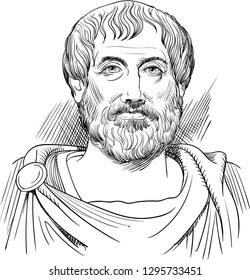 Aristotle (384-322 BC) vector portrait in line art. He was an ancient Greek philosopher, scientist, the author of  philosophical system that became the framework for Christian Scholasticism.