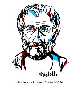 Aristotle engraved vector portrait with ink contours.  Ancient Greek philosopher and scientist born in the city of Stagira, Chalkidiki, Greece.