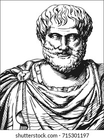 Aristotle. Vector black and white portrait of Greek philosopher and scientist