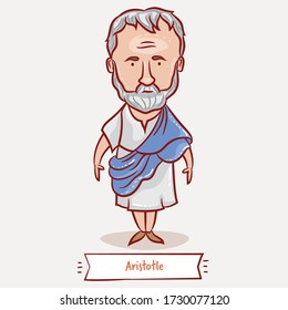 Aristotle vector cartoon illustration. Greek philosopher and scientist. Hand drawn portrait.
