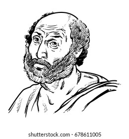 Aristotle Vector illustration, Aristotle Drawing outline, Ancient Greek philosopher and scientist