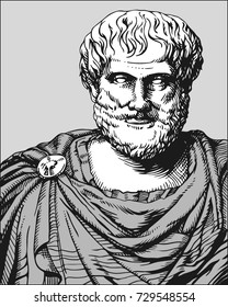 Aristotle. Vector portrait of Greek philosopher and scientist in white, gray and black colors