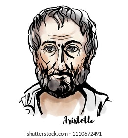 Aristotle watercolor vector portrait with ink contours. Ancient Greek philosopher and scientist.