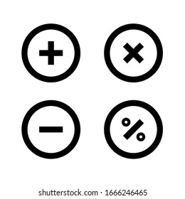 arithmetic operations outline icon design