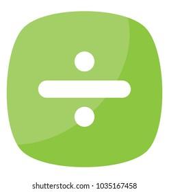 Arithmetic symbol divide sign representing division