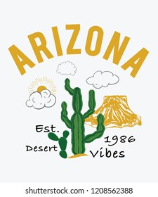 Arizona, cactus with slogan western desert, mountain style t-shirt design, print, typography, label with styled saguaro cactus and rocks. Vector illustration