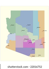 Arizona county map, with county seats. 21 layers, fully editable.