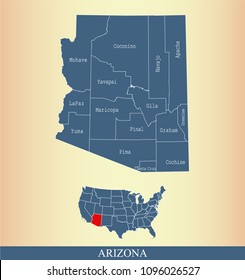 Arizona county map vector outline gray background. Map of Arizona state of USA with borders and counties names labeled