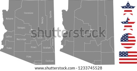 Arizona County Map Vector Outline Gray Stock Vector Royalty Free