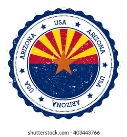 Arizona flag badge. Grunge rubber stamp with Arizona flag. Vintage travel stamp with circular text, stars and USA state flag inside it. Vector illustration.
