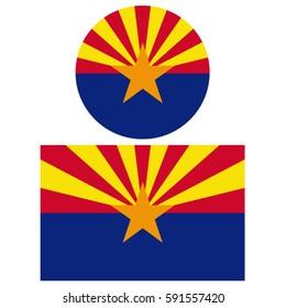 Arizona flags, vector illustration.