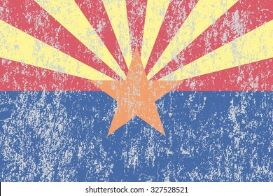 Arizona grunge, old, scratched style state flag