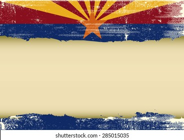 Arizona horizontal scratched flag. A background with a scratched flag of Arizona and a frame for your message