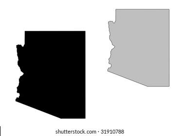 Arizona map. Black and white. Mercator projection.