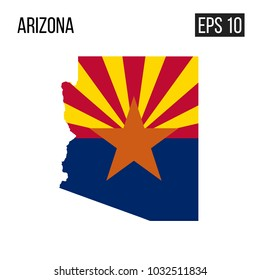 Arizona map border with flag vector EPS10
