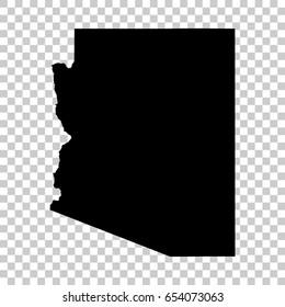 Arizona map isolated on transparent background. Black map for your design. Vector illustration, easy to edit.