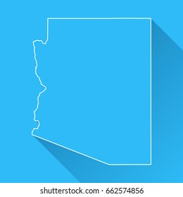 Arizona map with long shadow and white outline on blue background. Blue map in a flat design style. Vector illustration, easy to edit.