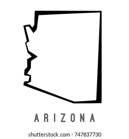 Arizona map outline - US state shape sharp polygonal geometric style vector.