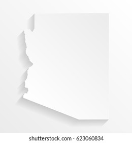 Arizona Map with shadow. Cut paper isolated on a white background. Vector illustration.