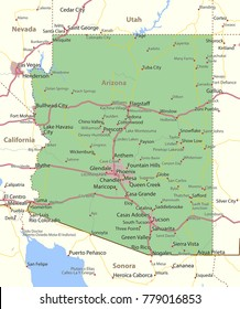 Arizona map. Shows state borders, urban areas, place names, roads and highways. Projection: Mercator.