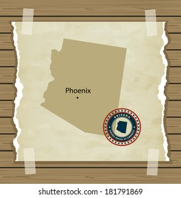 Arizona map with stamp vintage vector background