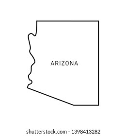 Arizona Map Vector Outline Design Template. Editable Stroke