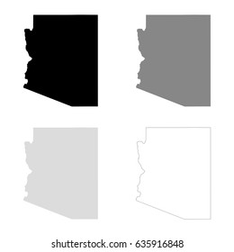 Arizona maps in black, gray and line art. High detailed vector map, easy to edit.