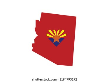 Arizona outline map country shape heart symbol love state borders