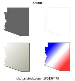 Arizona outline map set - vector version