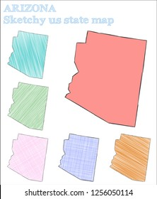 Arizona sketchy us state. Excellent hand drawn us state. Ideal childish style Arizona vector illustration.