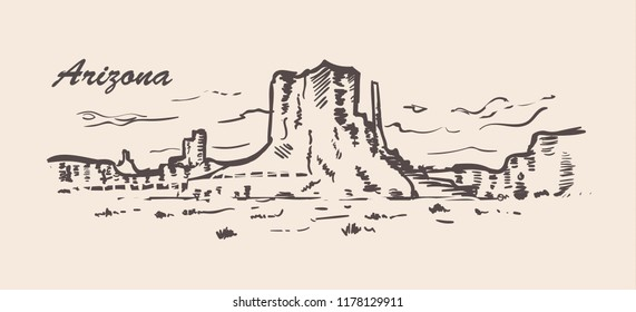 Arizona skyline hand drawn. Arizona sketch style vector illustration.