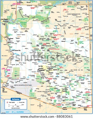Arizona State Map Free.Arizona State Map Stock Vector Royalty Free 88083061 Shutterstock