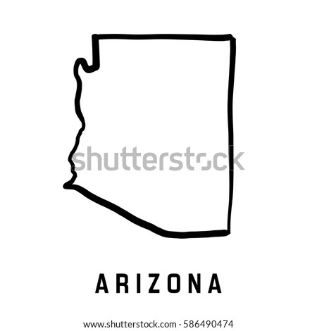 U S State Map Vector.Arizona State Map Outline Smooth Simplified Stock Vector Royalty