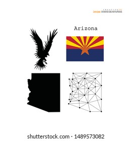 Arizona  State map,flag and phoenix bird on white background - Vector illustration.