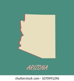Arizona state of US map vector outlines illustration in a three dimensional grunge background