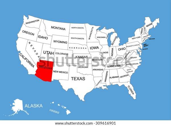 Map Of Usa Arizona.Arizona State Usa Vector Map Isolated Stock Vector Royalty Free