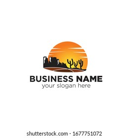 Arizona sun with cactus logo vector concept, icon, element, and template for business
