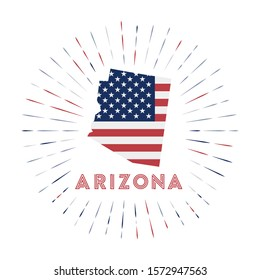 Arizona sunburst badge. The us state sign with map of Arizona with American flag. Colorful rays around the logo. Vector illustration.