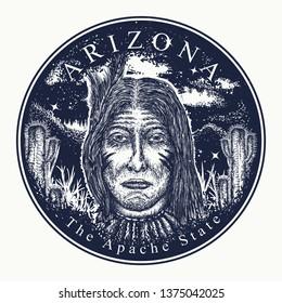 Arizona. Tattoo and t-shirt design. Welcome to Arizona (USA). The Apache state slogan. Travel art concept
