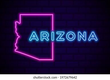 Arizona US state glowing neon lamp sign Realistic vector illustration Blue brick wall glow