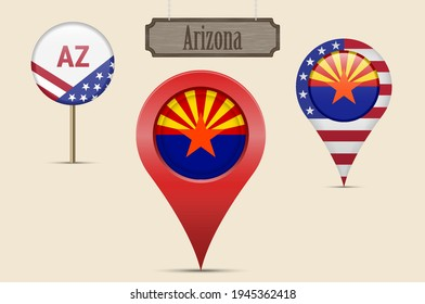 Arizona US state round flag. Map pin, red map marker, location pointer. Hanging wood sign in vintage style. Vector illustration. American stars and stripes flag. Two-letter state abbreviation.