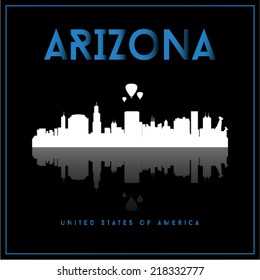 Arizona, USA skyline silhouette vector design on black background.