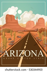 Arizona vector american poster. USA travel illustration. United States of America colorful greeting card.
