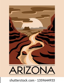 Arizona. Vector hand drawn landscape of desert isolated. Template for card, poster. banner, print for t-shirt, pin, badge, patch.