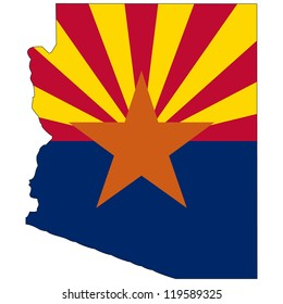 Arizona vector map with the flag inside.