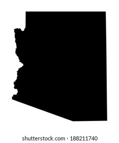 Arizona vector map silhouette isolated on white background. High detailed illustration. United state of America country.